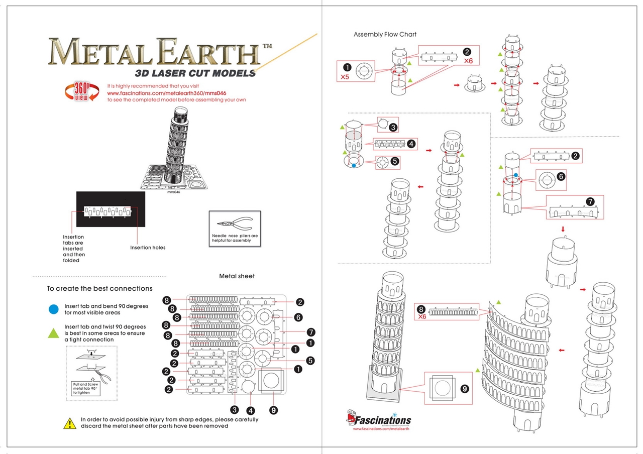 Instruction of Tower Of Pisa | Metal Earth Architecture