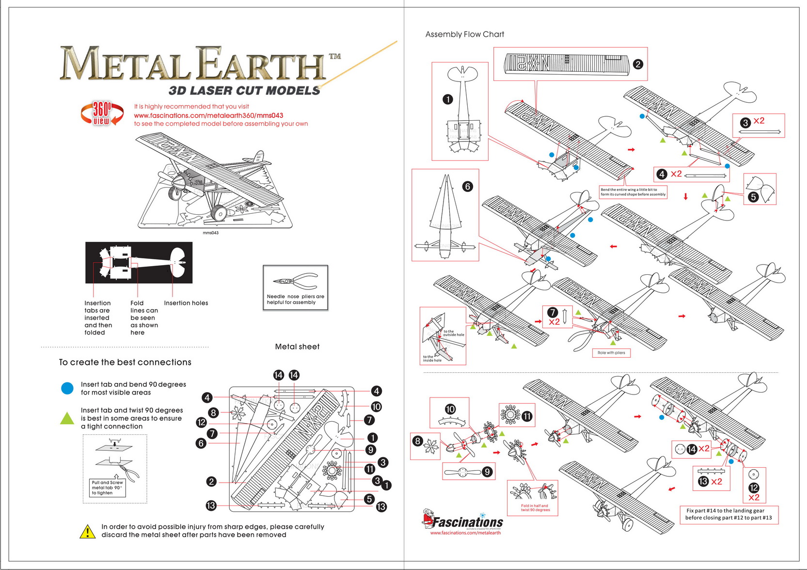 Instruction of Spirit Of Saint Louis | Metal Earth Flight