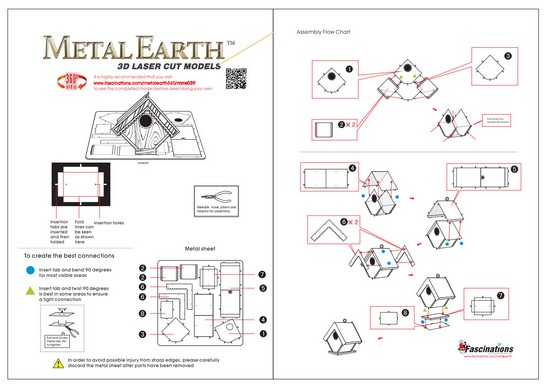Instruction of Bird House | Metal Earth Miscellaneous