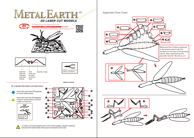 Instruction of Praying Mantis | Metal Earth Bugs