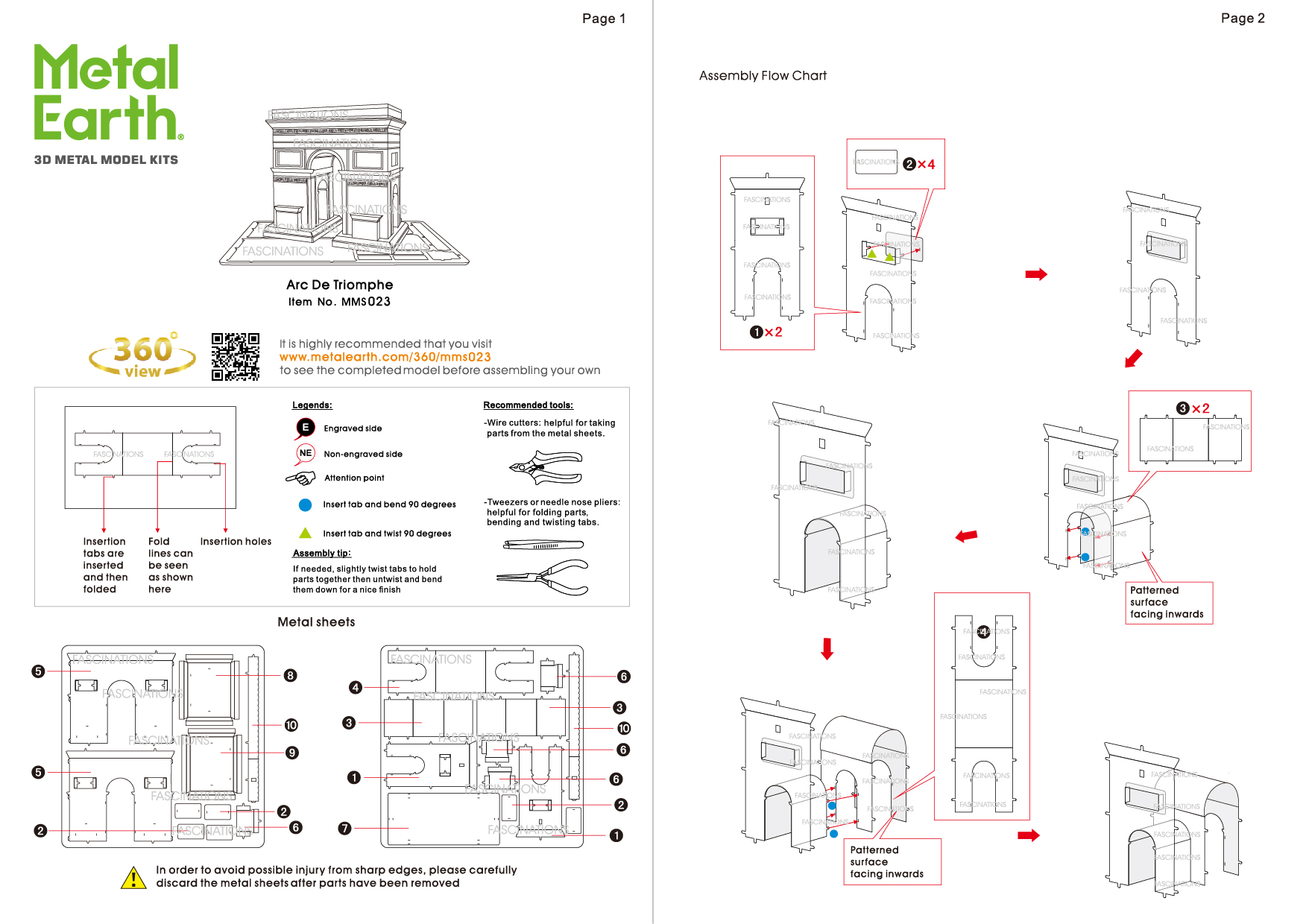 Instruction of Arc de Triomphe | Metal Earth Architecture