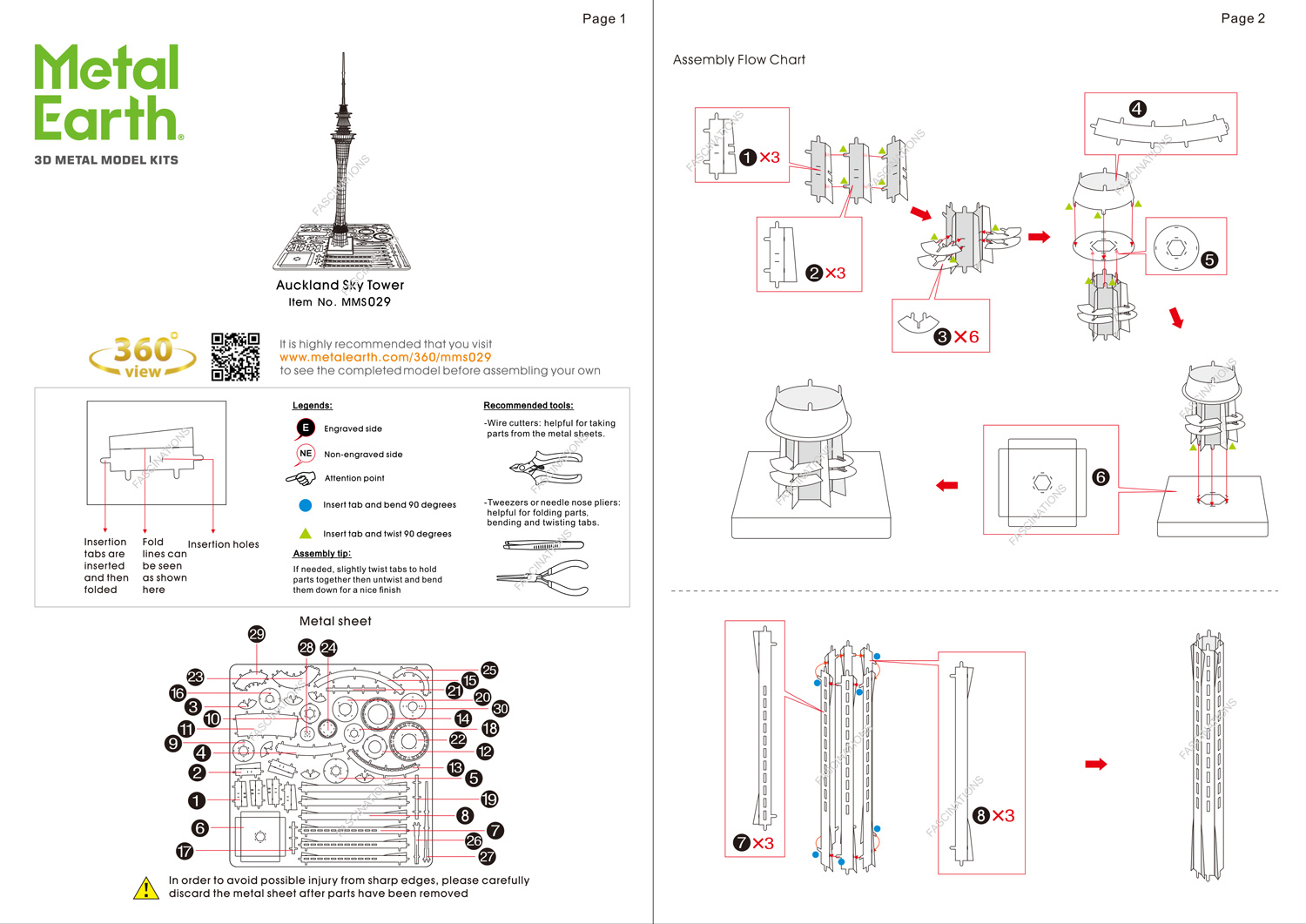 Instruction of Auckland Sky Tower | Metal Earth Architecture