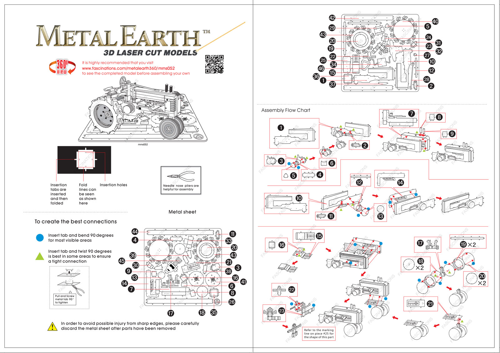 Instruction of Farm Tractor | Metal Earth Vehicles