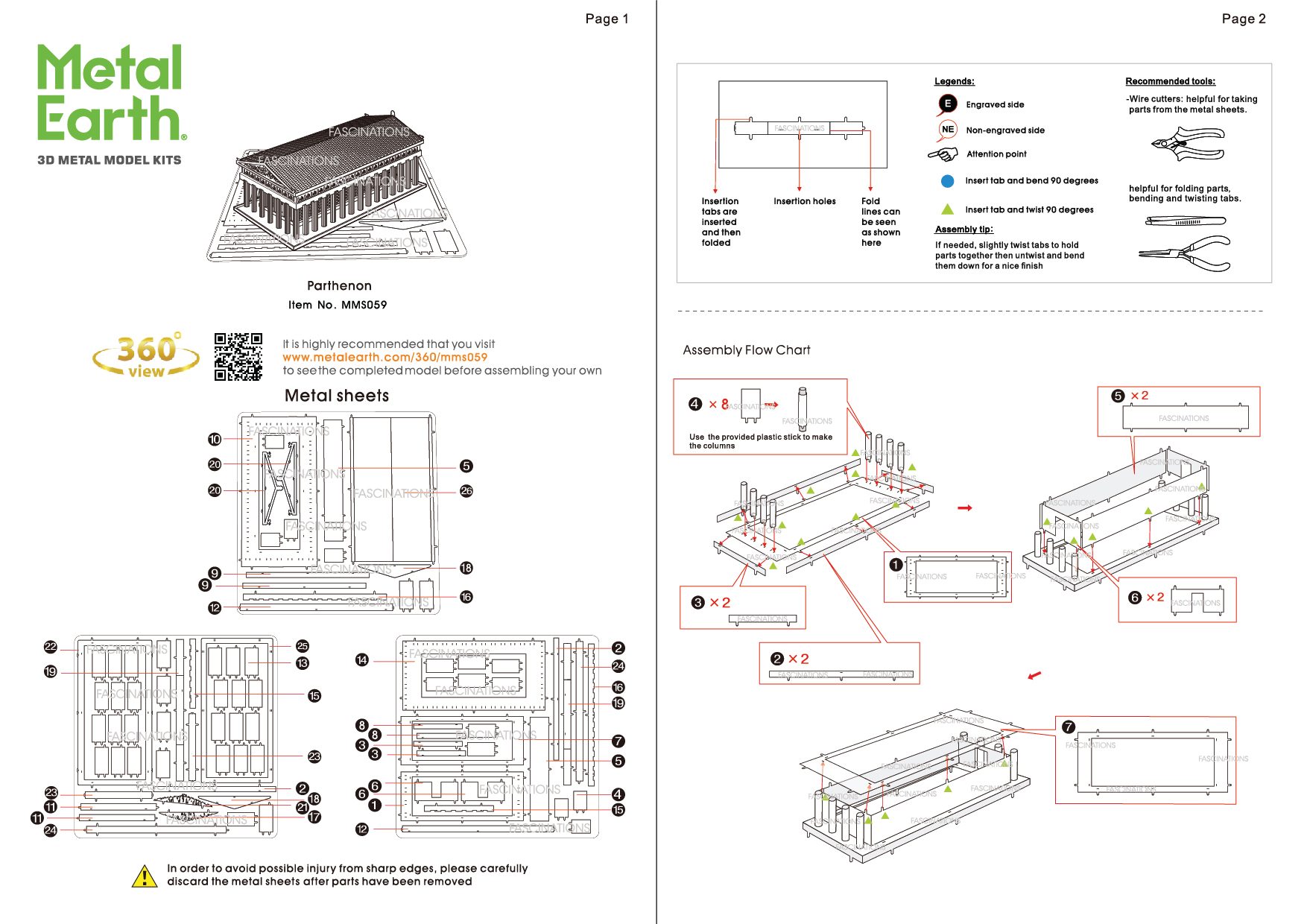 Instruction of Parthenon | Metal Earth Architecture