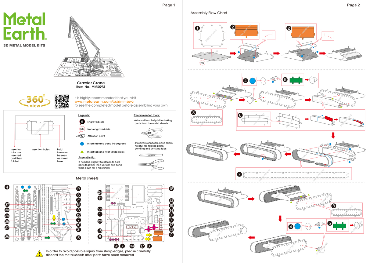 Instruction of Crawler Crane | Metal Earth Vehicles