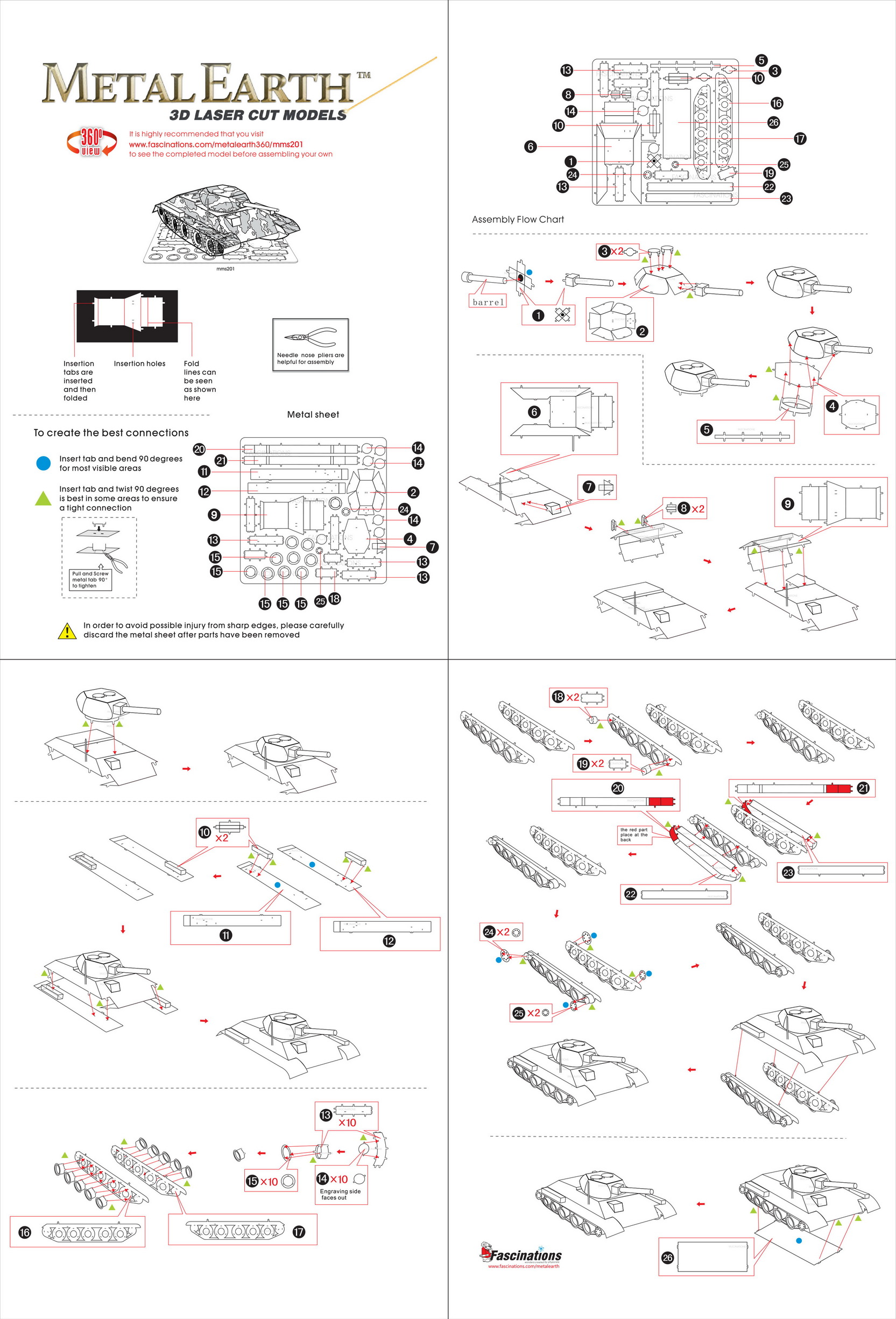 Instruction of T-34 Tank | Metal Earth Tanks