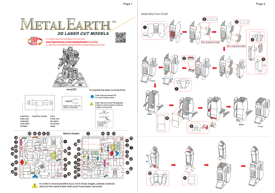 Instruction of Optimus Prime | Metal Earth Transformers