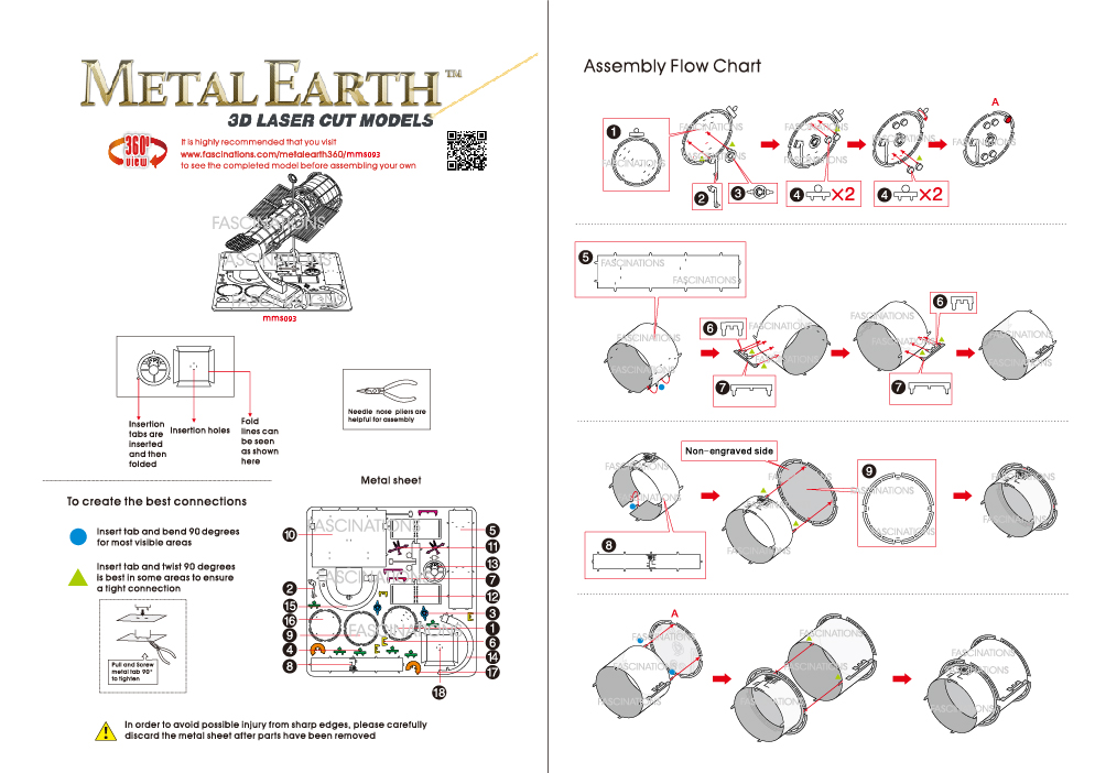 Instruction of Hubble Telescope | Metal Earth Miscellaneous