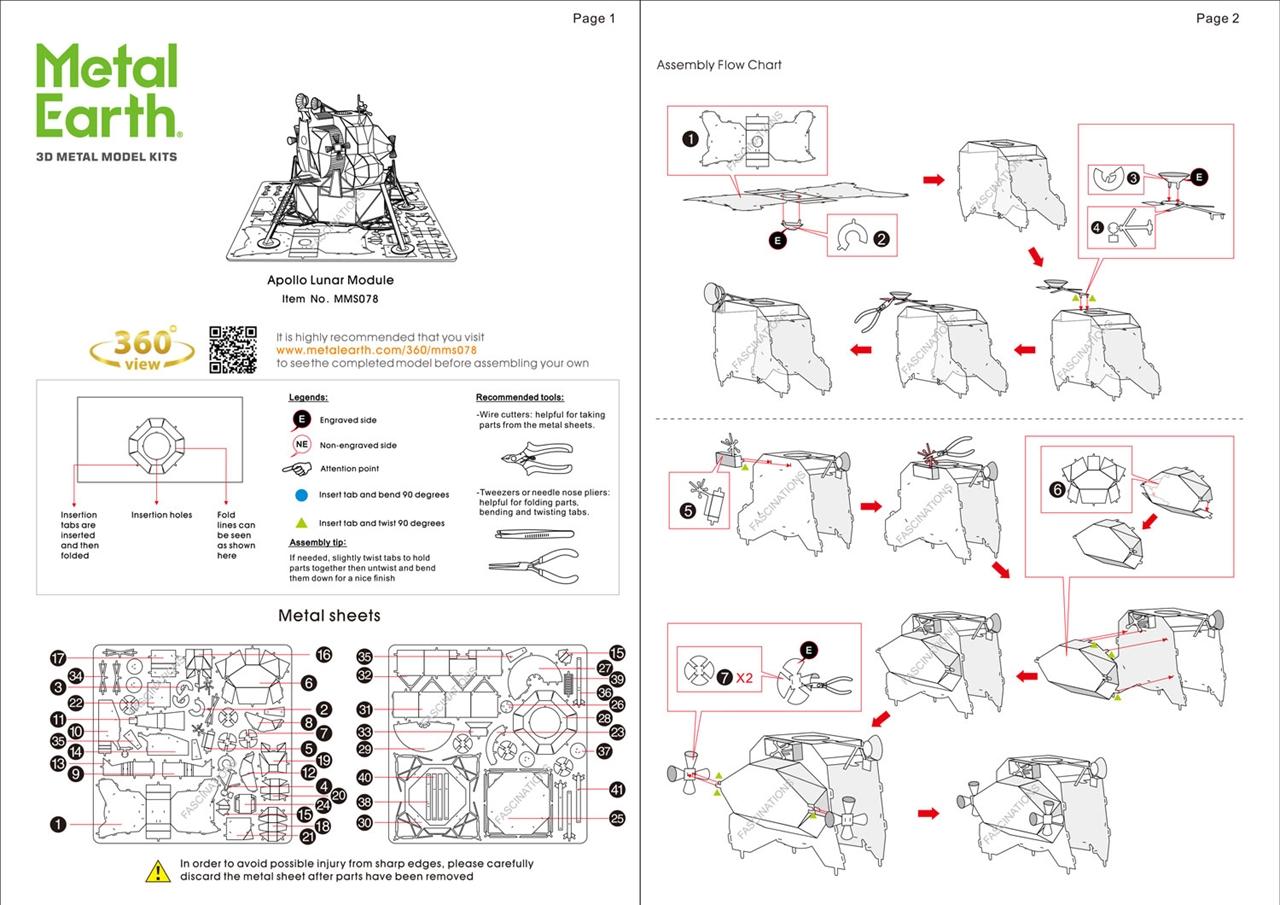 Classics Apollo Lunar Module Metal Earth 3D Laser Cut Metal Puzzle by Fascina...