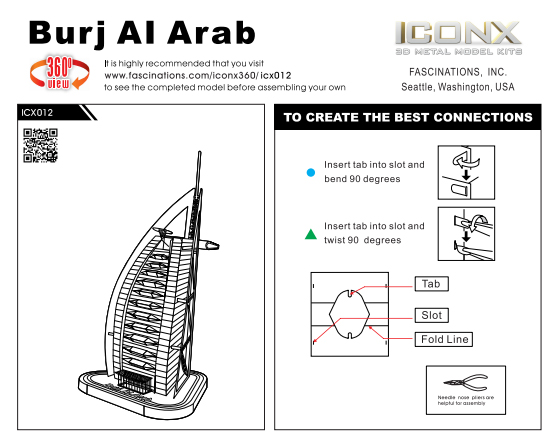 Innovatoys Metal Earth Iconx Burj Al Arab 3d Diy Famous