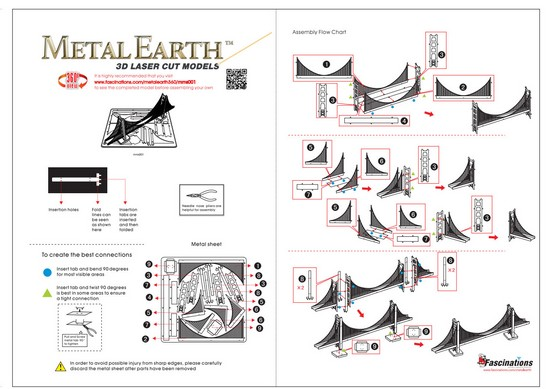 Instruction of Gold Golden Gate Bridge | Metal Earth Architecture