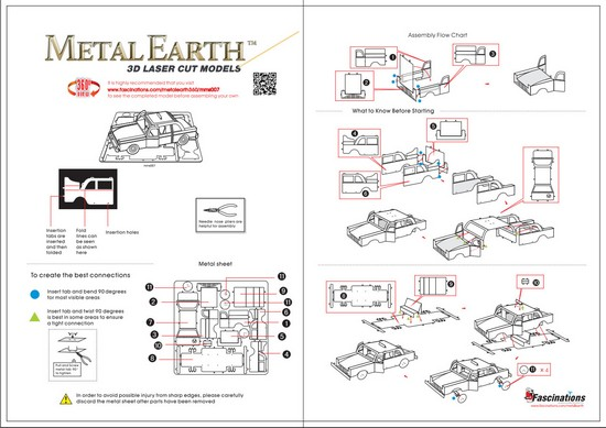 Instruction of Checker Cab | Metal Earth Vehicles