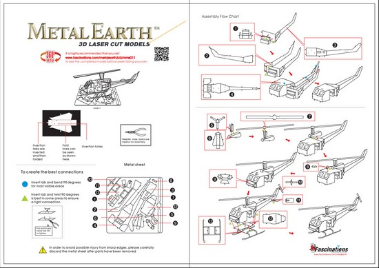 Instruction of Helicopter Huey | Metal Earth Flight