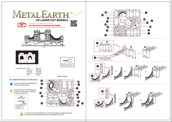 Instruction of London Tower Bridge | Metal Earth Architecture