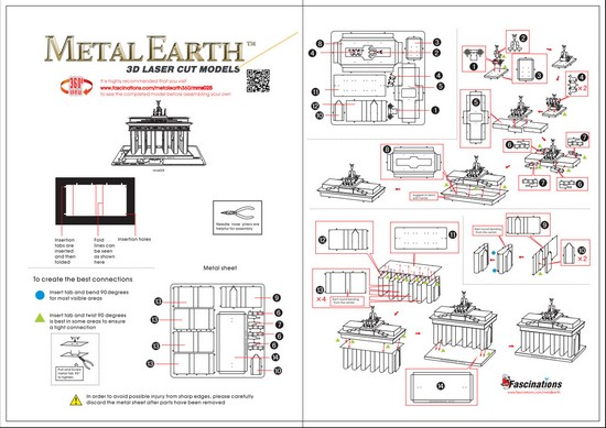 Instruction of Brandenburg Gate | Metal Earth Architecture