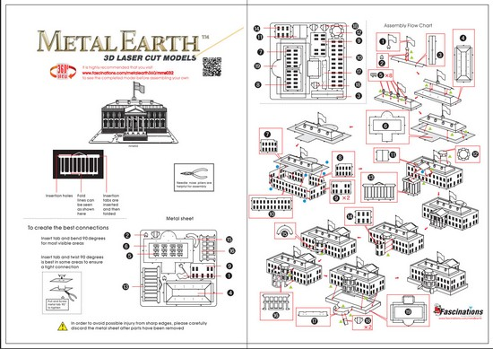 Instruction of White House | Metal Earth Architecture