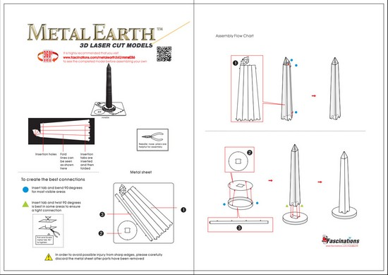Instruction of Washington Monument | Metal Earth Architecture