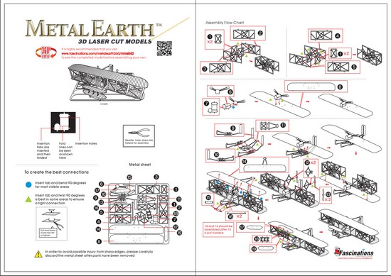 Instruction of Wright Brother Airplane | Metal Earth Flight