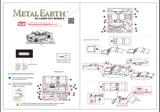 Instruction of 1965 Ford Mustang | Metal Earth Vehicles
