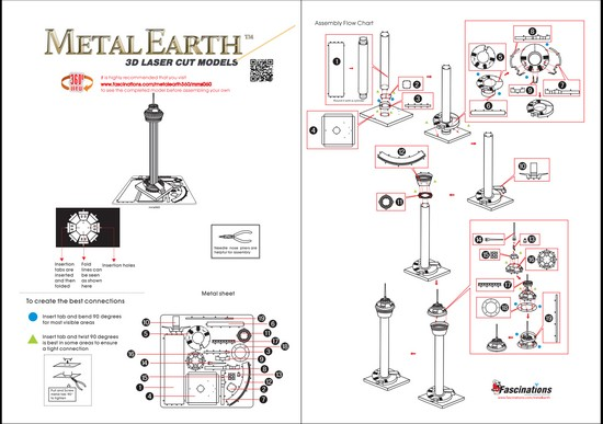 Instruction of Tower of the Americas | Metal Earth Architecture