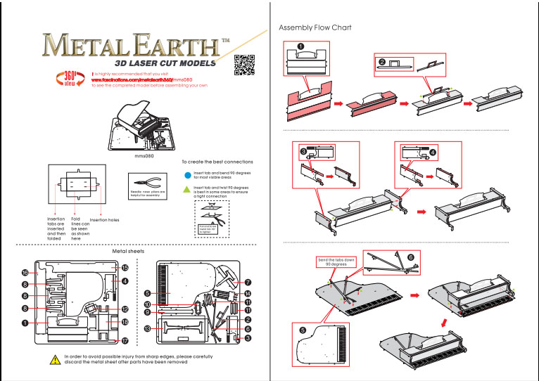 Instruction of Grand Piano | Metal Earth Musical